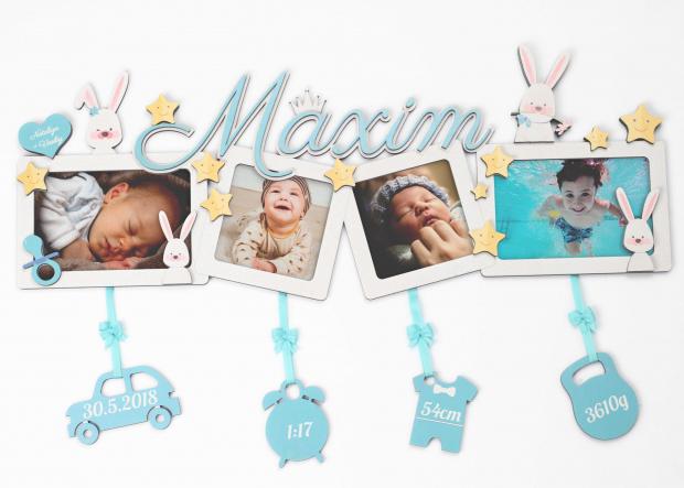 Dekorace ve formě čtyřrámečku s hvězdami a zajíčky Fotorámeček na více fotek k narození dítěte s hvězdami, zajíčky a jménem dítěte