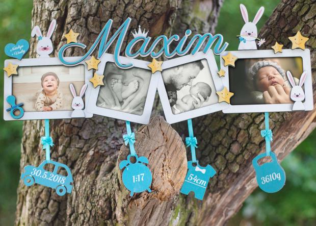Dekorace ve formě čtyřrámečku s hvězdami a zajíčky Fotorámeček pro 4 fotografie k narození dítěte s hvězdami, zajíci a jménem dítěte