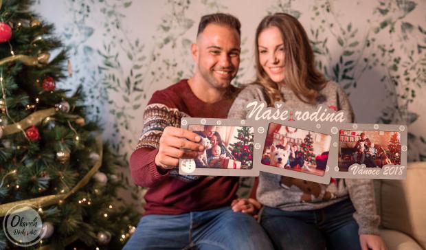 Dekorace jako trojrámeček pro uchování nejlepších vánočních okamihů