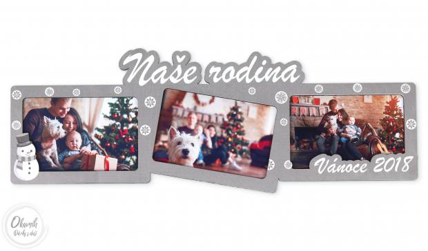 Dekorace jako trojrámeček pro uchování nejlepších vánočních okamihů Vánoční fotorámeček na více fotek