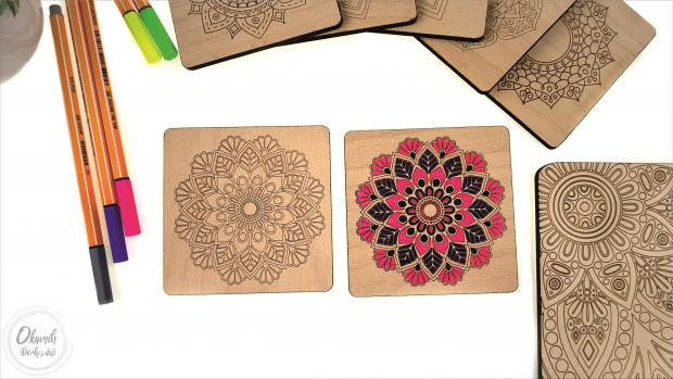 Podtácky s různými tvary mandaly, které si můžete sami vybarvit Podtácky s různými tvary mandaly, které si můžete sami vybarvit