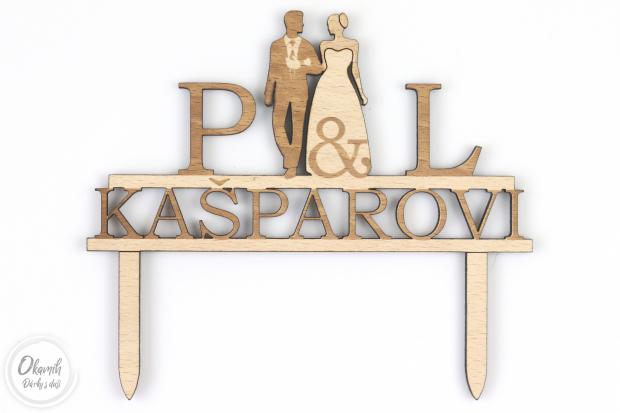Svatební zápich do dortu LÁSKA s Vašimi iniciálami a postavami svatebčanů Zápich na svatební dort s iniciálama a siluetama novomanželů