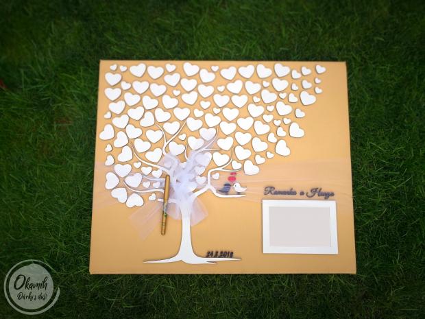 Svatební plátno s motivem stromu a rámečkem a tolika srdci, kolik si jen budete přát Svatební plátno s motivem stromu a rámečkem a tolika srdci, kolik si jen budete přát