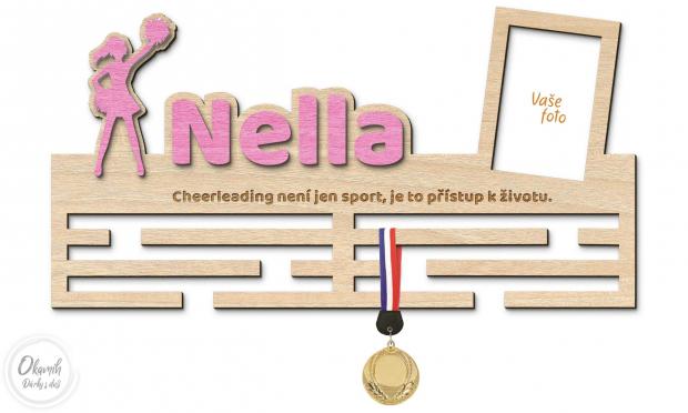 Věšák na medaile pro ty nejveselejší cheerleaderky Věšák na medaile cheerleaderka - velký, s fotorámečkem