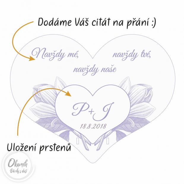 Podložka pod prstýnky s iniciálami, datem a citátem Podložka pod snubní prsten s iniciálami novomanželů, datem a citátem II.