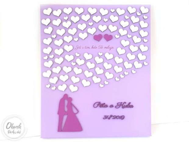 Svatební plátno s tolika srdci, kolik si jen budete přát Svatební kniha hostů na plátně s tolika srdci, kolik jste pozvali hostů