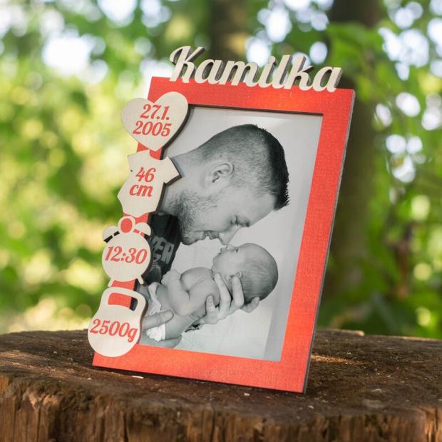 Rámeček k narození miminka s údaji o narození vlevo Rámeček na fotky s údaji o narození dítěte vlevo