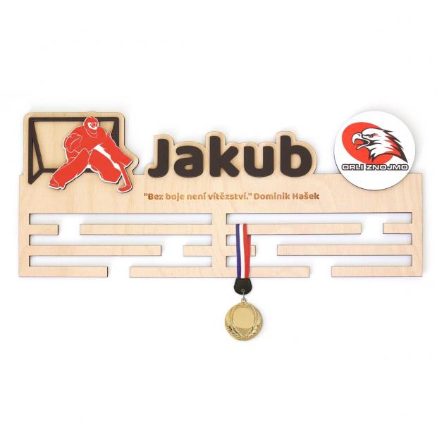 Věšák na medaile s rámečkem pro hokejové brankáře Věšák na medaile hokejový brankář - se jménem, velký, s fotorámečkem