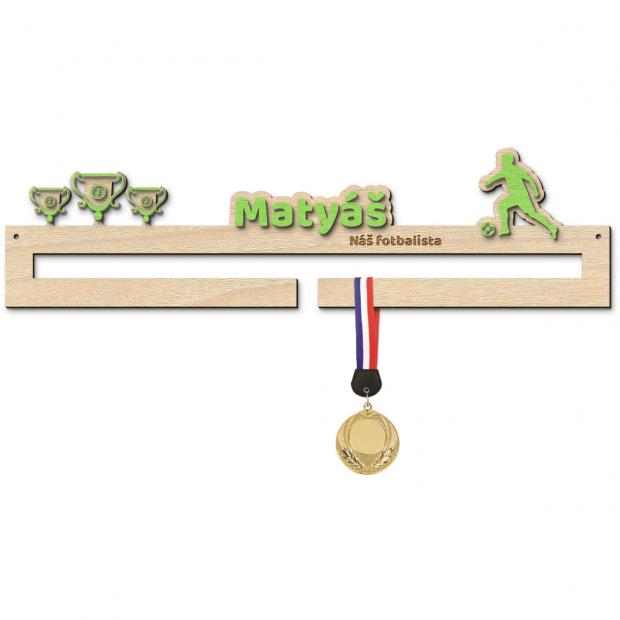 Základní fotbalový věšák na medaile Věšák na medaile fotbal - se jménem, střední