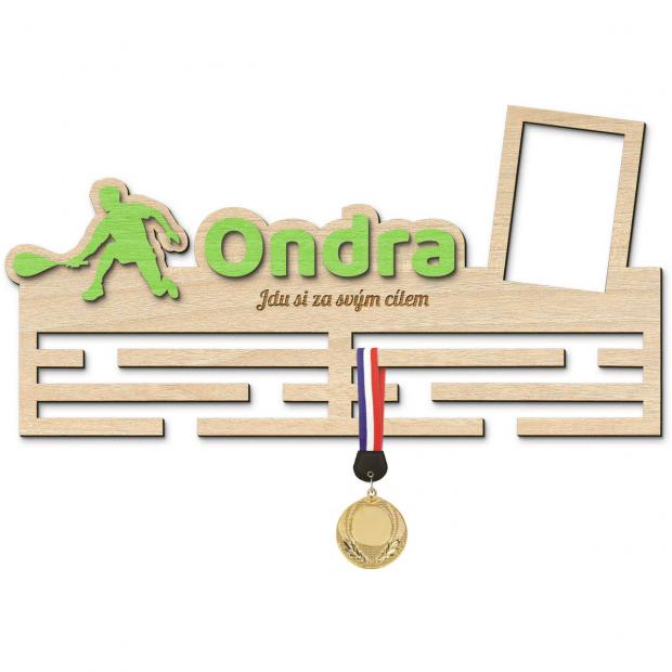Originální věšák na medaile pro úspěchy ve squashi s vlastním barevným jménem, mottem a rámečkem Věšák na medaile squash - se jménem, velký, s fotorámečkem