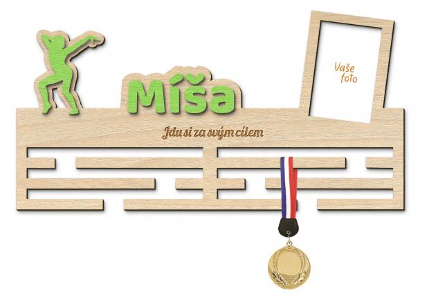 Věšák na medaile s rámečkem pro nadšence aerobicu či tance Věšák na medaile aerobic a tanec - se jménem, velký, s fotorámečkem
