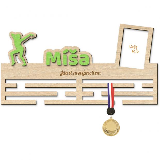 Věšák na medaile s motivem moderní gymnastiky s vlastním jménem, mottem a rámečkem Věšák na medaile moderní gymnastika - se jménem, velký, s fotorámečkem