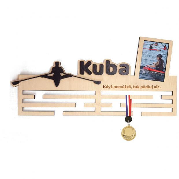 Veslařský věšák na medaile s vlastním jménem, mottem a rámečkem Věšák na medaile veslování - se jménem, velký, s fotorámečkem