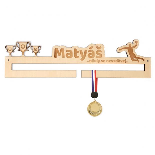 Základní věšák na medaile pro hráče házené Věšák na medaile házená - se jménem, střední
