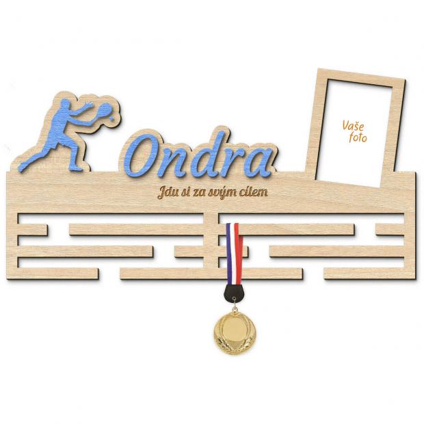 Věšák na medaile pro nadšené tenisty Věšák na medaile tenis - se jménem, velký, s fotorámečkem