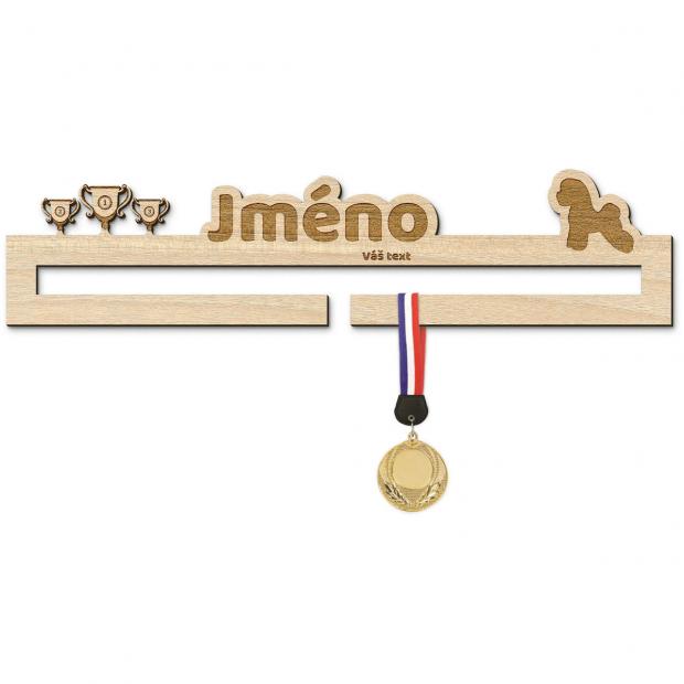 Věšák na medaile pro šampiony psích výstav s bišonkem Věšák na medaile psí výstavy - se jménem, střední
