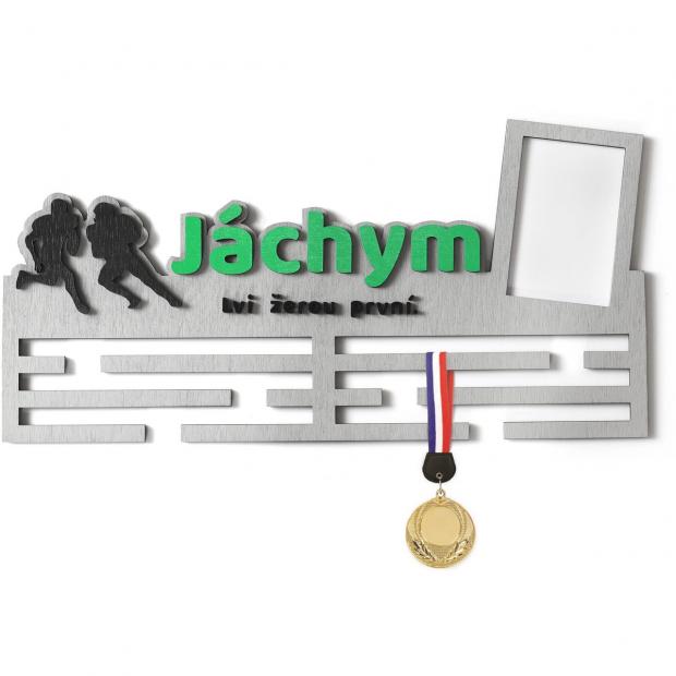 Věšák na medaile s rámečkem pro ragbistu se jménem, mottem a rámečkem Věšák na medaile ragby - se jménem, velký, s fotorámečkem