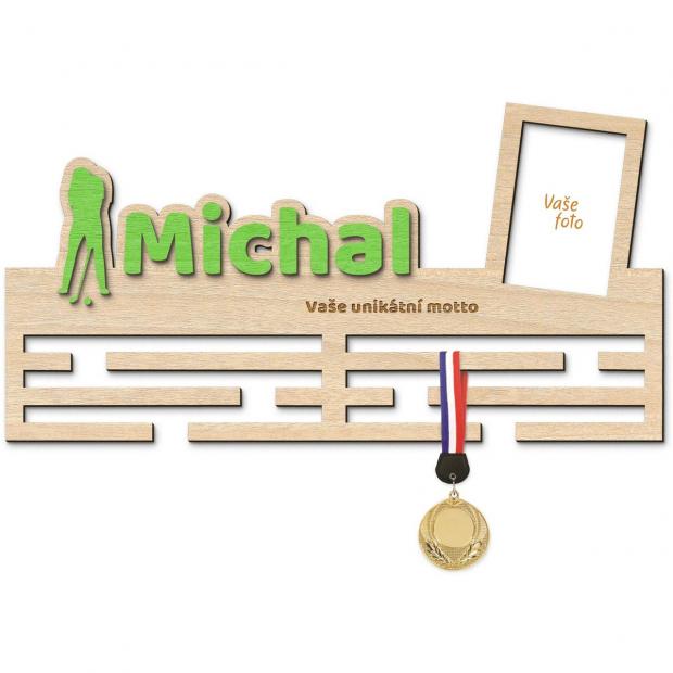 Věsák na medaile pro hráče golfu se jménem, mottem a rámečkem Věsák na medaile golf - pro muže, se jménem, velký, s fotorámečkem