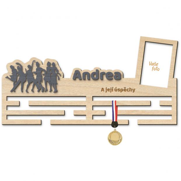 Věšák na medaile pro tanečníky Věšák na medaile taneční - se jménem, velký, s fotorámečkem