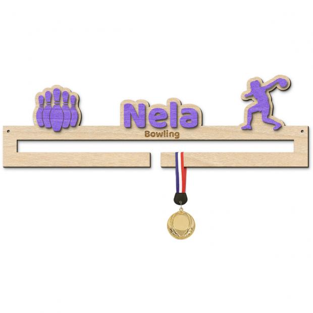 Věšák na medaile pro hráče bowlingu Věšák na medaile bowling - se jménem, střední