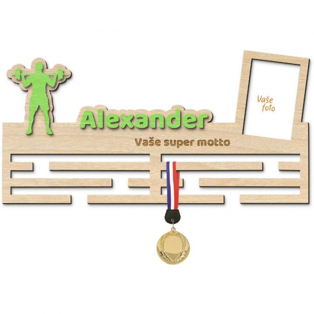 Věšák na medaile pro mistry vzpěrače Věšák na medaile vzpírání - se jménem, velký, s fotorámečkem