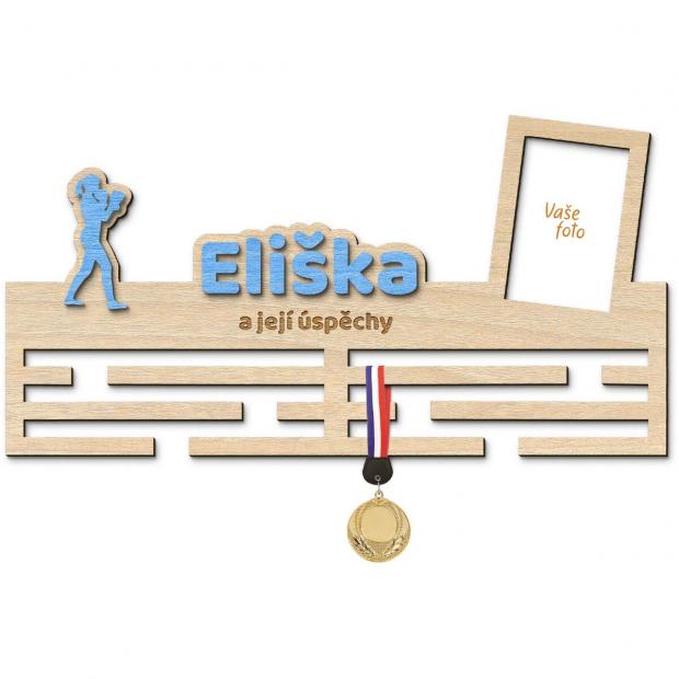 Věšák na medaile s rámečkem pro mystrině boxu Věšák na medaile box - pro ženy, se jménem, velký, s fotorámečkem