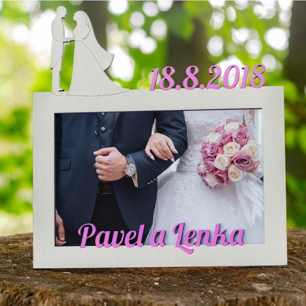 Rámeček ke svatbě s vlastním motivem Svatební fotorámeček