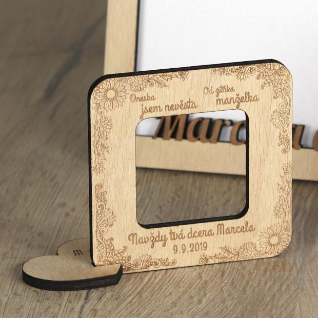 Svatební mini rámeček například k poděkování rodičům Svatební fotorámeček mini