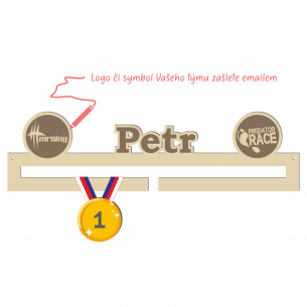 Věšák na medaile Predator Race - se jménem a logem týmu, střední Věšák na medaile Predator Race - se jménem a logem týmu, střední
