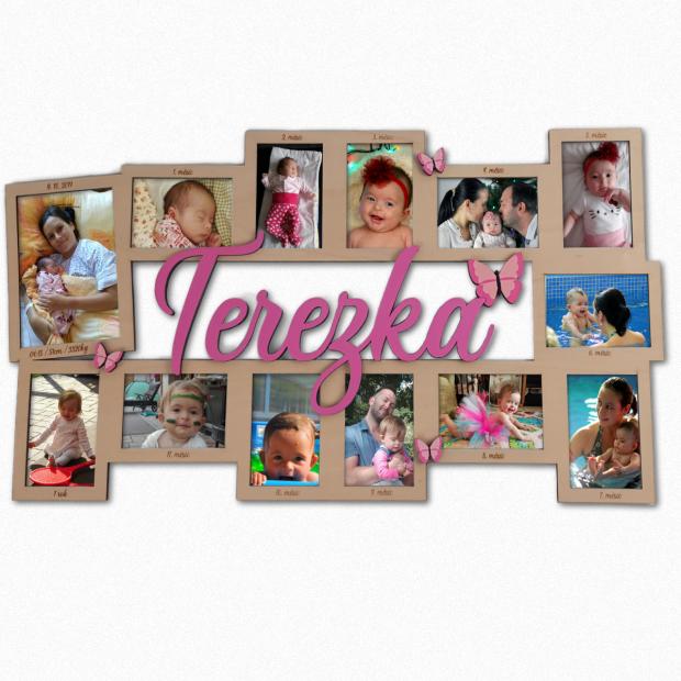 Dekorace s 13 rámečky pro Vaše miminko můj první rok - dívčí s motýlky Dekorace s 13 rámečky pro Vaše miminko můj první rok - dívčí s motýlky