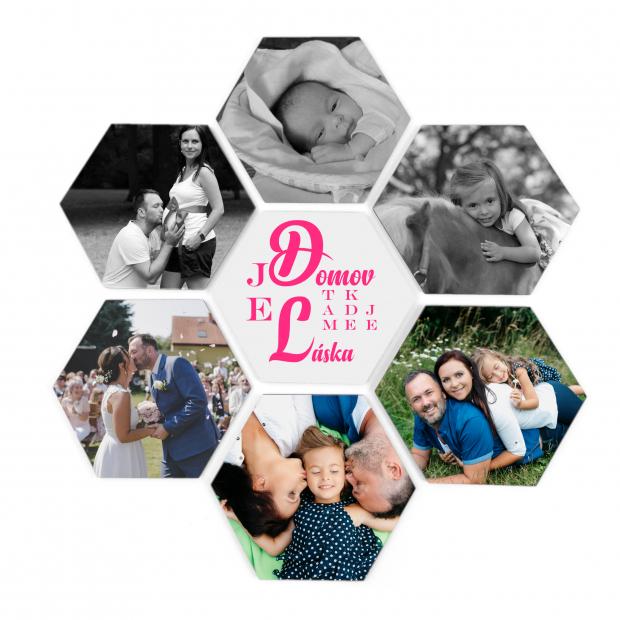 7 dřevěných hexagonek v kruhu 21x18 cm - foto dekorace s barevným potiskem 7 dřevěných hexagonek - foto dekorace s barevným potiskem
