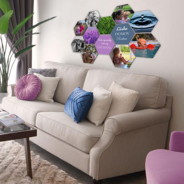 12 dřevěných hexagonek 21x18 cm - foto dekorace s barevným potiskem 12 dřevěných hexagonek - foto dekorace s barevným potiskem