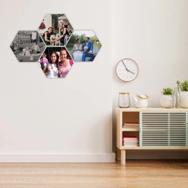 4 dřevěné hexagonky 21x18 cm - foto dekorace s barevným potiskem 4 dřevěné hexagonky - foto dekorace s barevným potiskem
