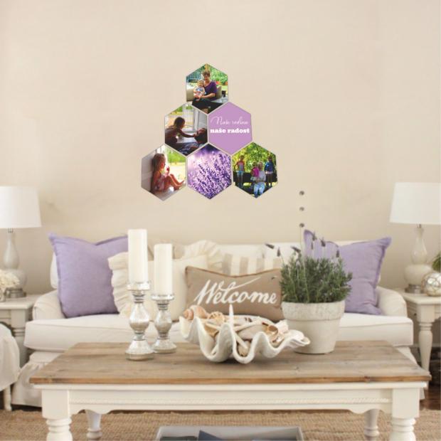 6 dřevěných hexagonek 21x18 cm - foto dekorace s barevným potiskem 6 dřevěných hexagonek - foto dekorace s barevným potiskem
