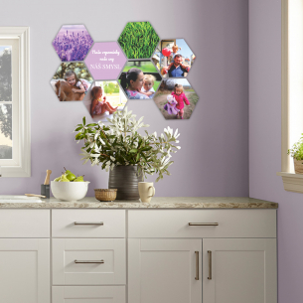8 dřevěných hexagonek 21x18 cm - foto dekorace s barevným potiskem 8 dřevěných hexagonek - foto dekorace s barevným potiskem