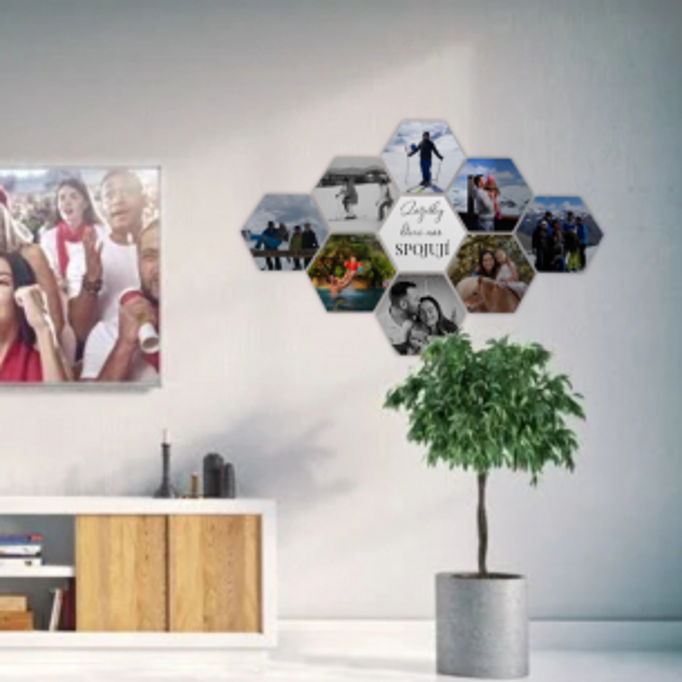 9 dřevěných hexagonek 21x18 cm - foto dekorace s barevným potiskem 9 dřevěných hexagonek - foto dekorace s barevným potiskem
